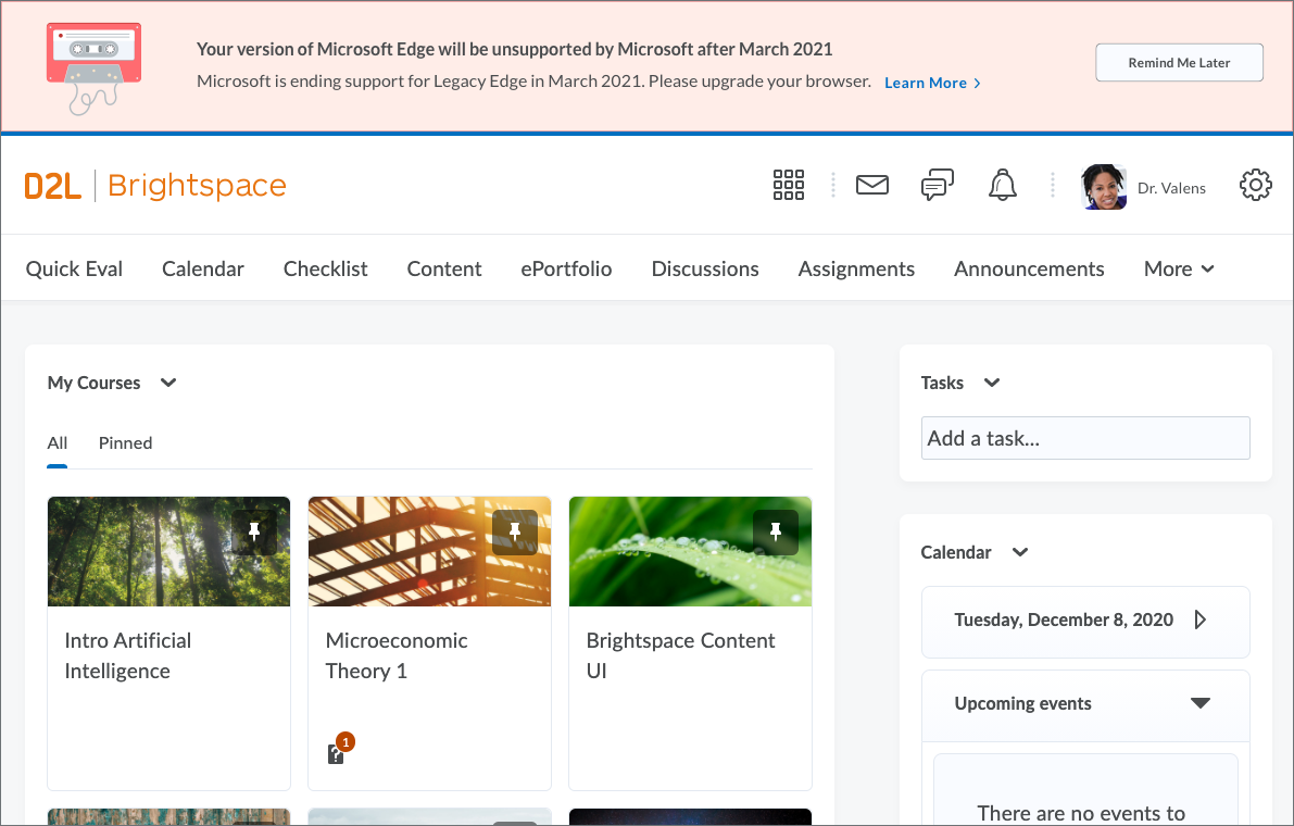 Warning banner at top of Brightspace homepage altering user that Microsoft Edge will be unsupported after March 2021