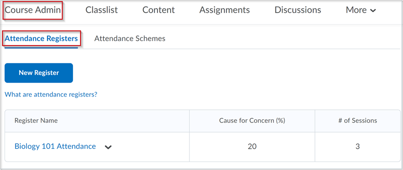 Figure: The Attendance Registers page before the update