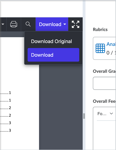Figure: The Annotations viewer with the Download drop-down menu