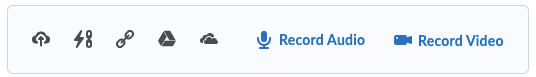 New attachments toolbar containing icons for Upload File, QuickLink, Web Link, Google Drive, OneDrive, Record Audio, and Record Video.