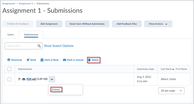 Figure: The Assignments > Submissions tab and the assignment submission context menu with the Delete functionality before this update