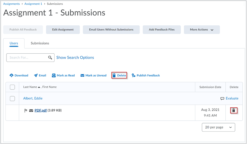 Figure: The Assignments > Users tab with the Delete functionality for bulk actions and the icon to delete individual submission files before this update
