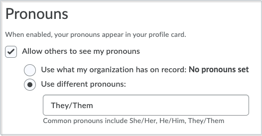 Figure: The area under Account Settings, where you can set your pronouns