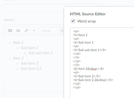 How to create nested unordered list?